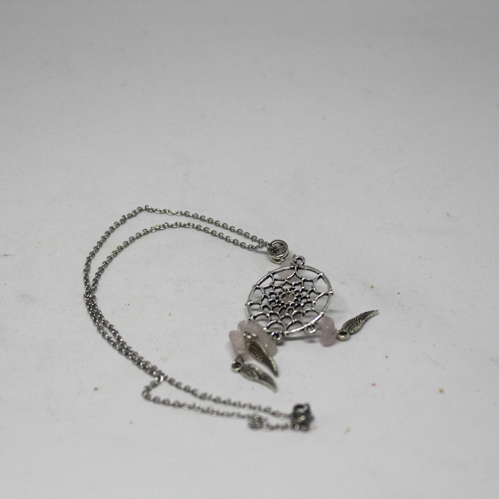 Rose Quartz Dream Catcher Pendant Sterling Silver Chain