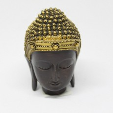 Shakyamuni Head Statue with Gold Ushnisha
