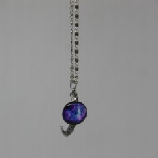 Crescent Moon Necklace Silver coloured