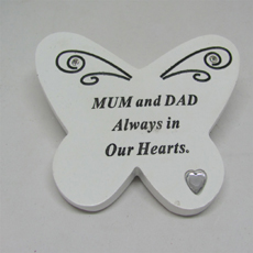Description  Small Butterfly Grave Plaque Dad. Made from Resin White , Inscription in Black Suitable for outdoors.  Shipping  We ship worldwide. All products are shipped by An Post (The Irish Postal System) . We charge a flat rate €2 for packaging and use