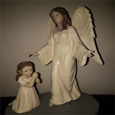 Girl Praying To Angel