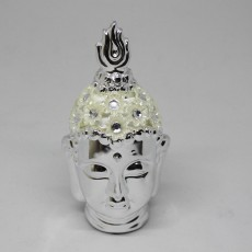 Smiling Meditating Buddha Shakyamuni Head Statue Silver and White Coloured